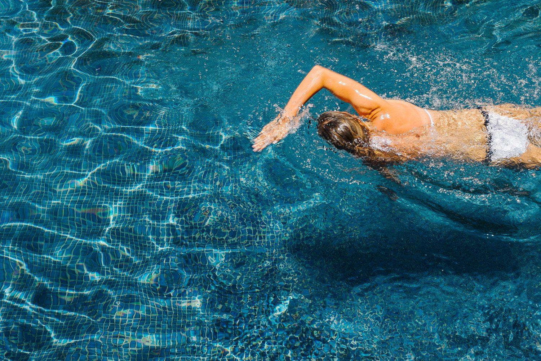 swimmer in pool in morocco