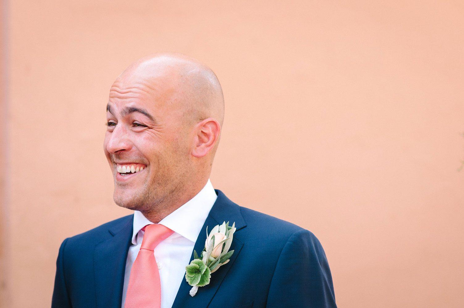 groom laughing at moroccan weddings