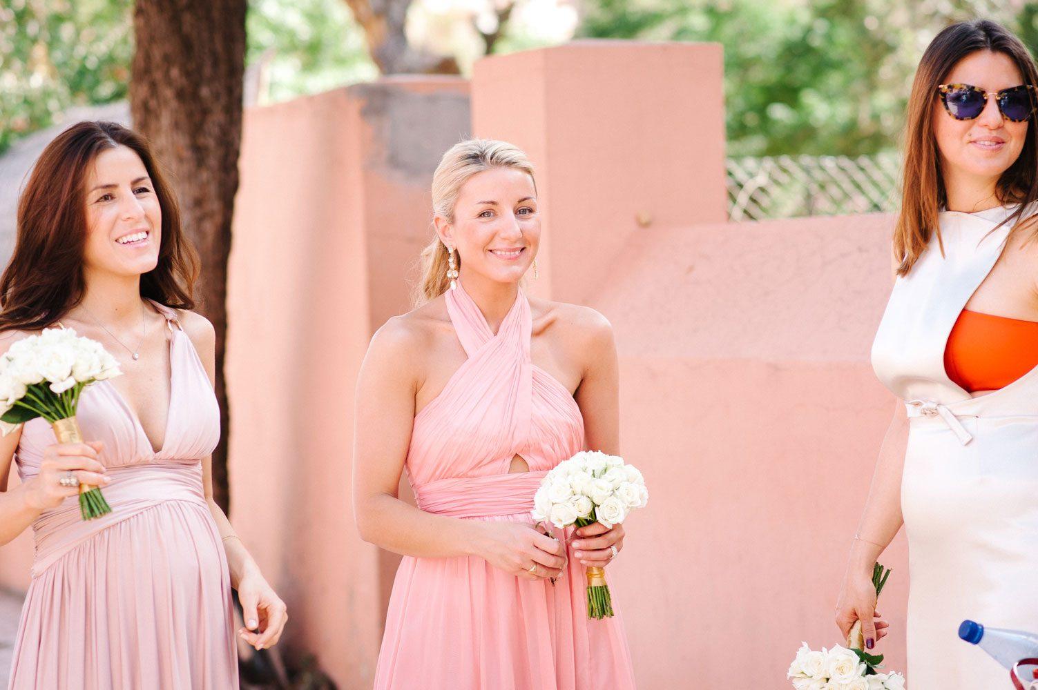 bridesmaids wait at moroccan wedding