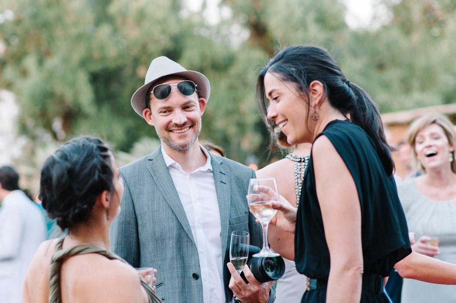 wedding guests at overseas wedding