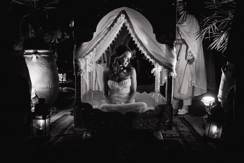 bride arrives at moroccan wedding