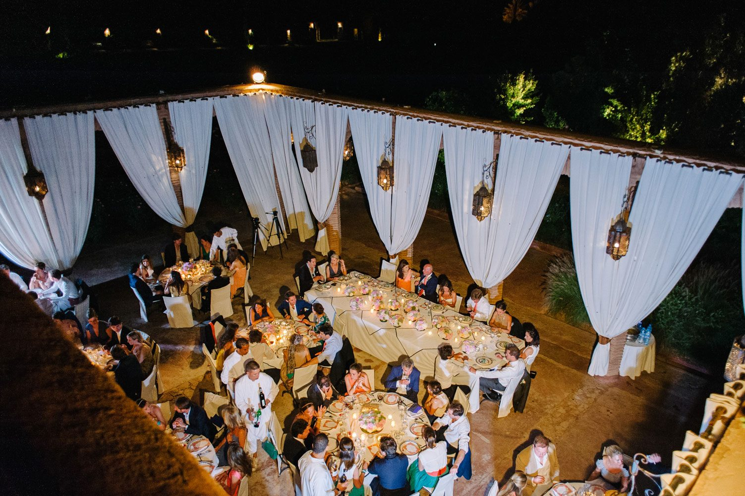 beldi country club wedding reception from above