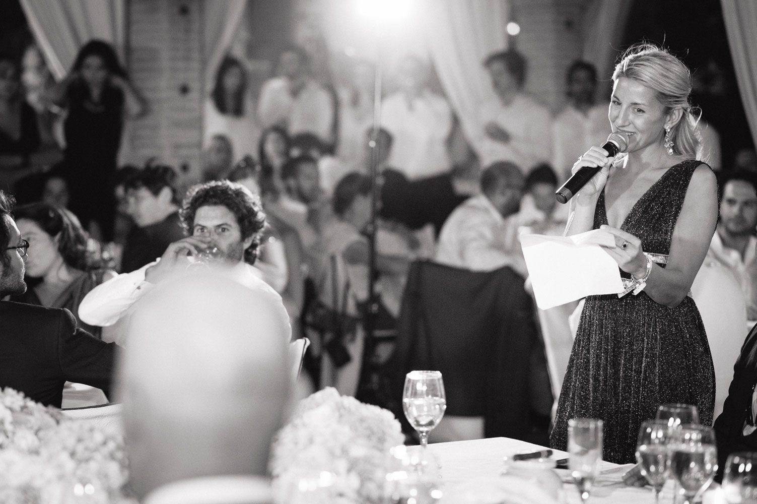 pretty bridesmaid makes speech in morocco