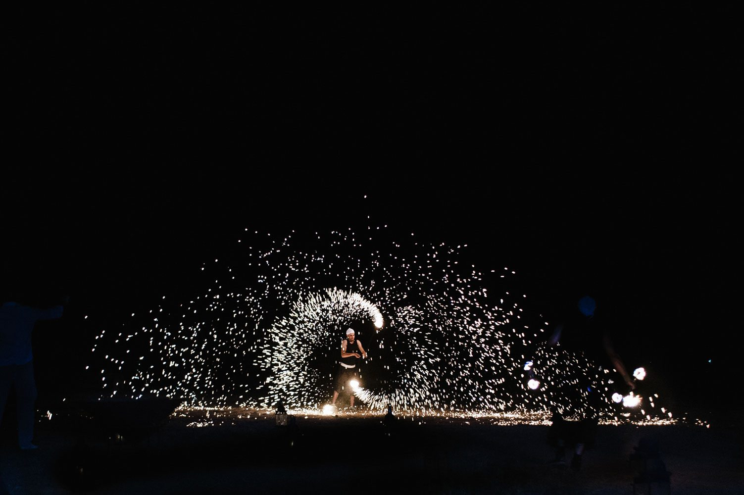 fire eater performs