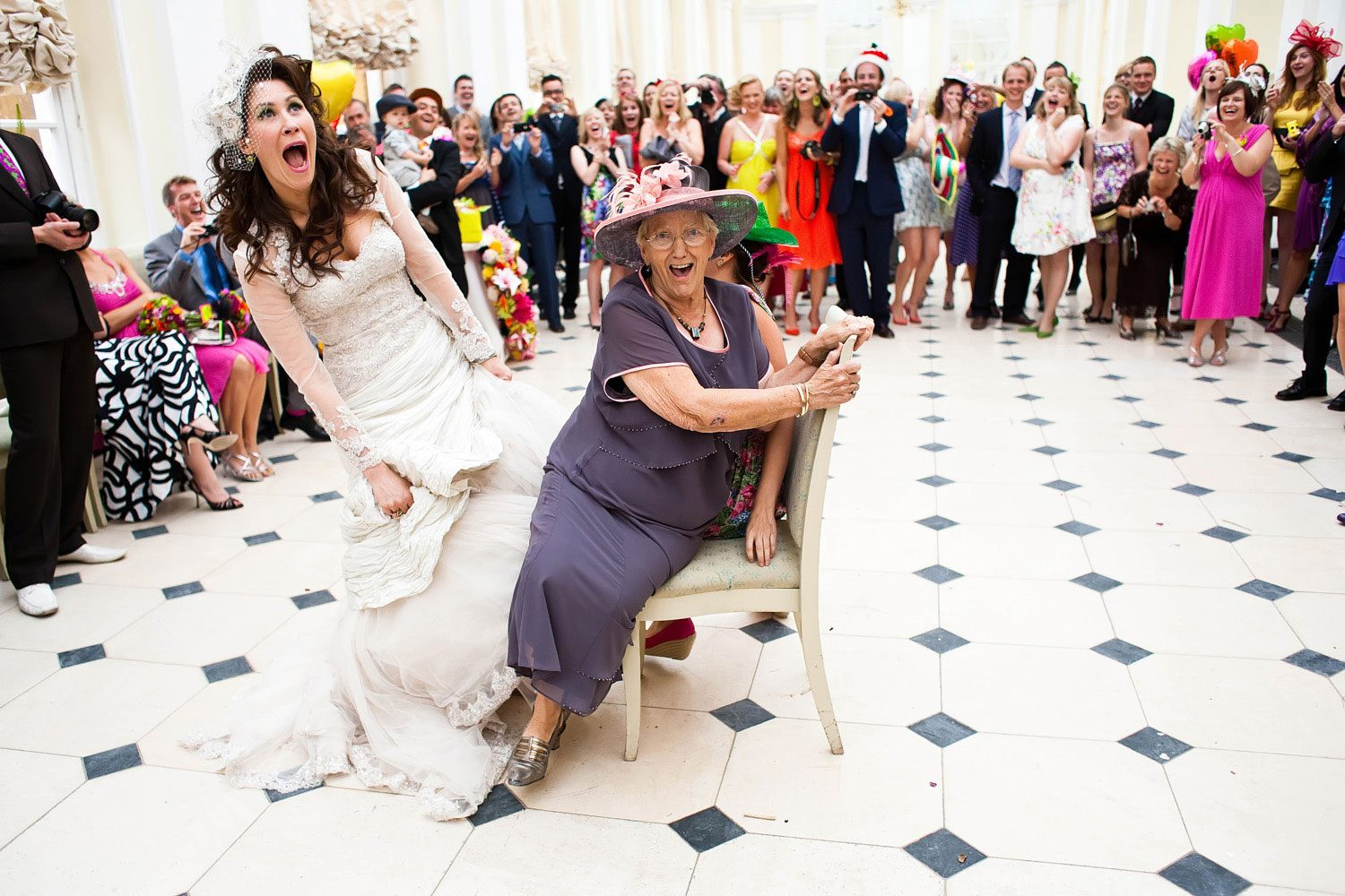 bride and grannie clash for wedding chair