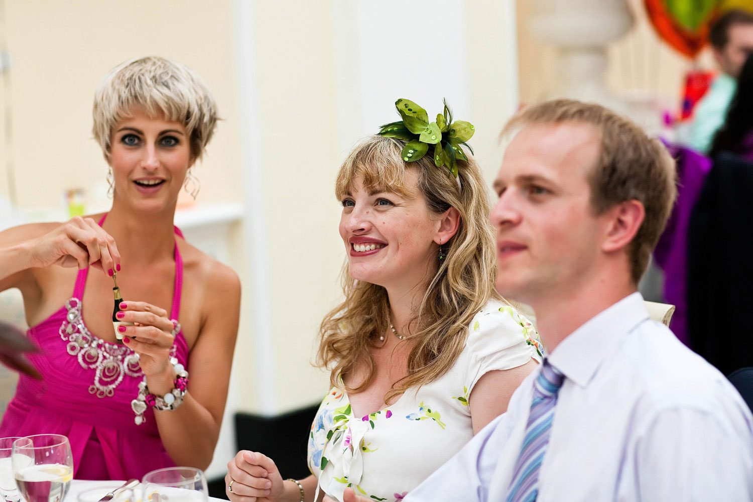 wedding guest with flowers in hair