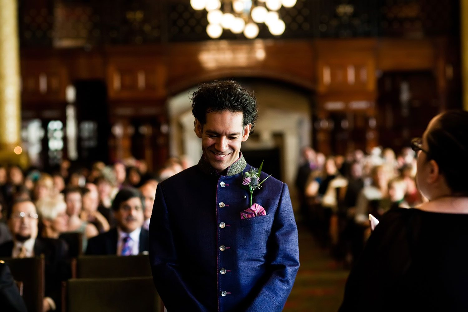 groom awaits arrival of bride