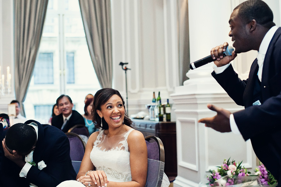 groom laughing at corinthia hotel wedding