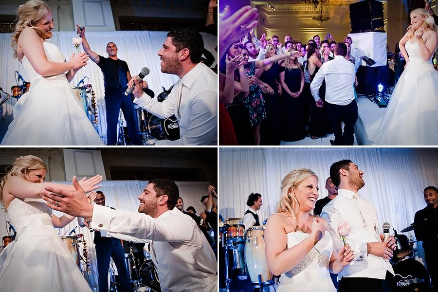 groom sings to bride at landmark hotel wedding