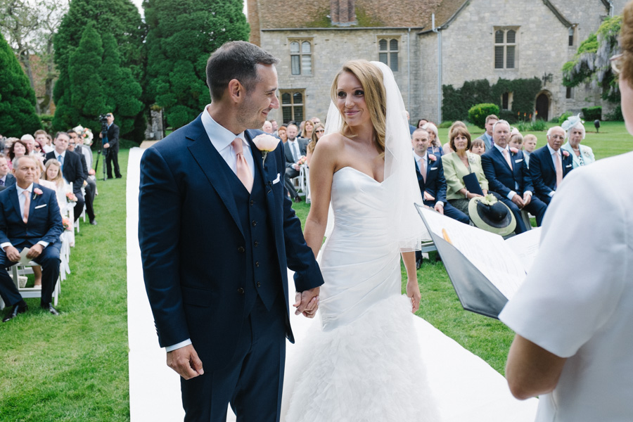 outdoor wedding ceremony at notley abbey