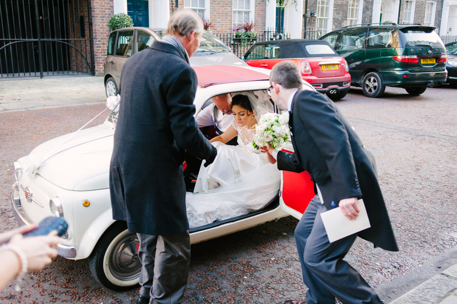 bride arriving at st etheldredas