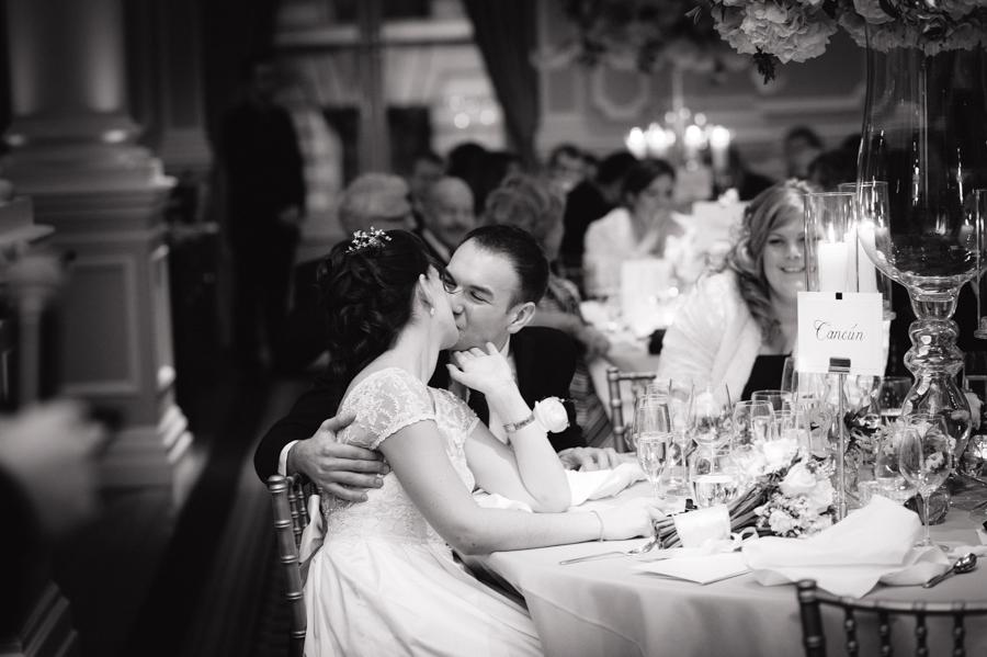 bride and groom at corinthia hotel wedding reception