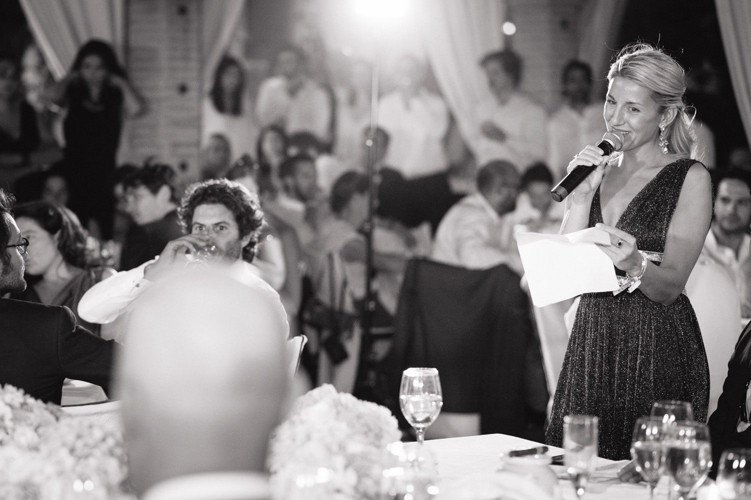 pretty bridesmaid makes speech in morocco