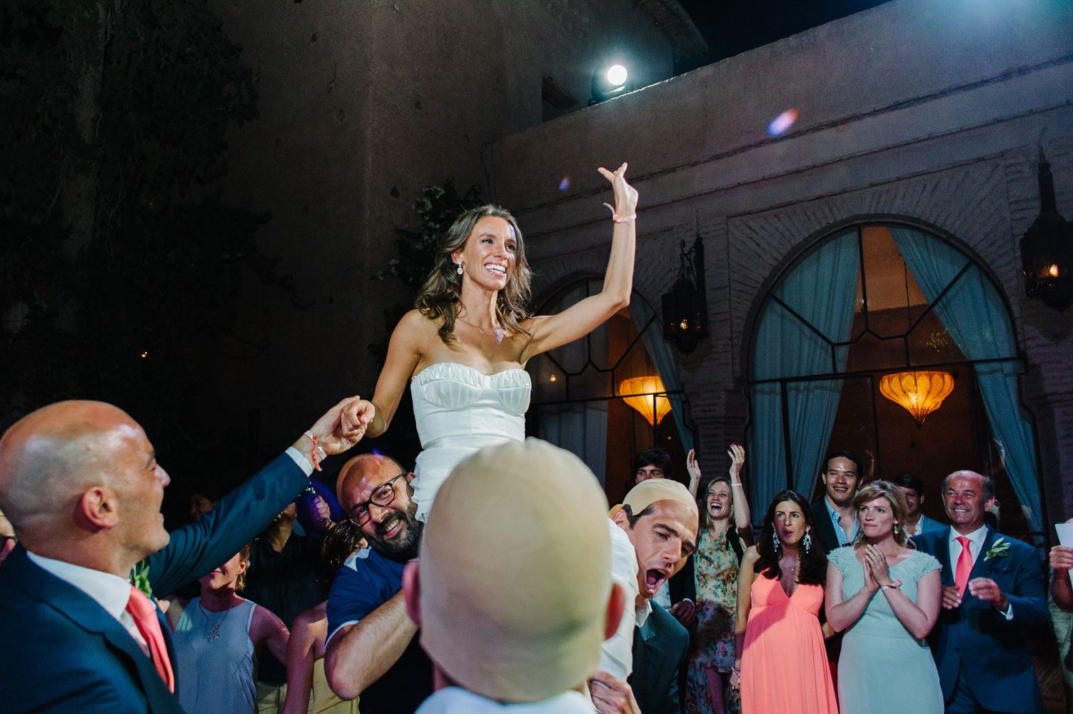 bride raised aloft at beldi club wedding