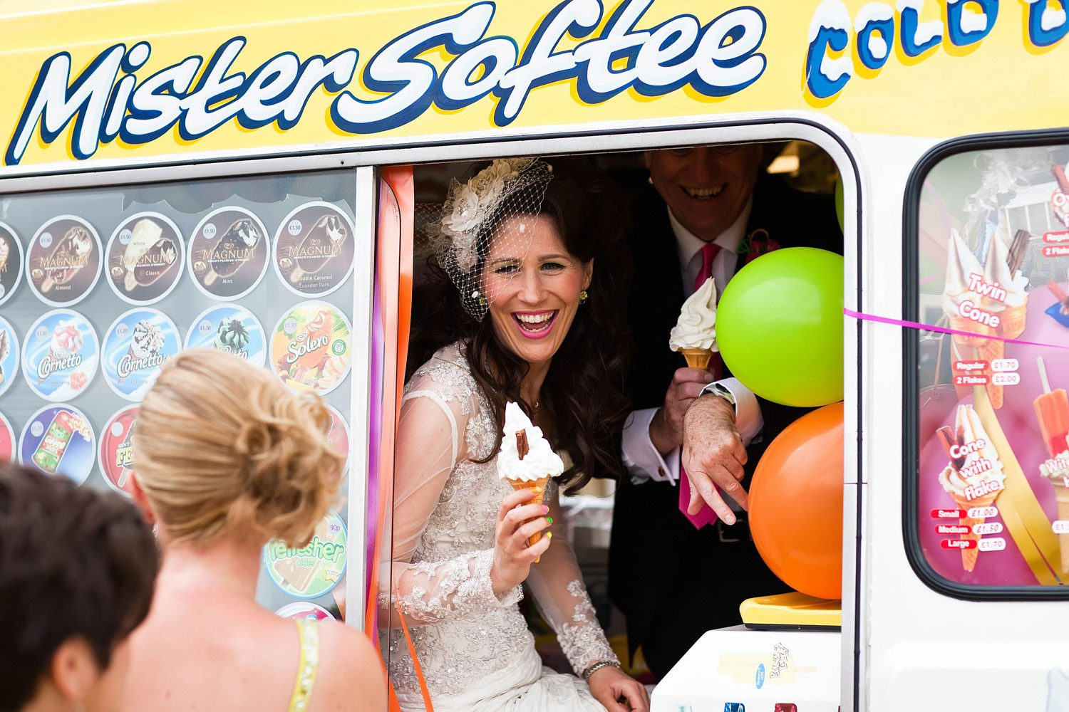 bride serves ice cream