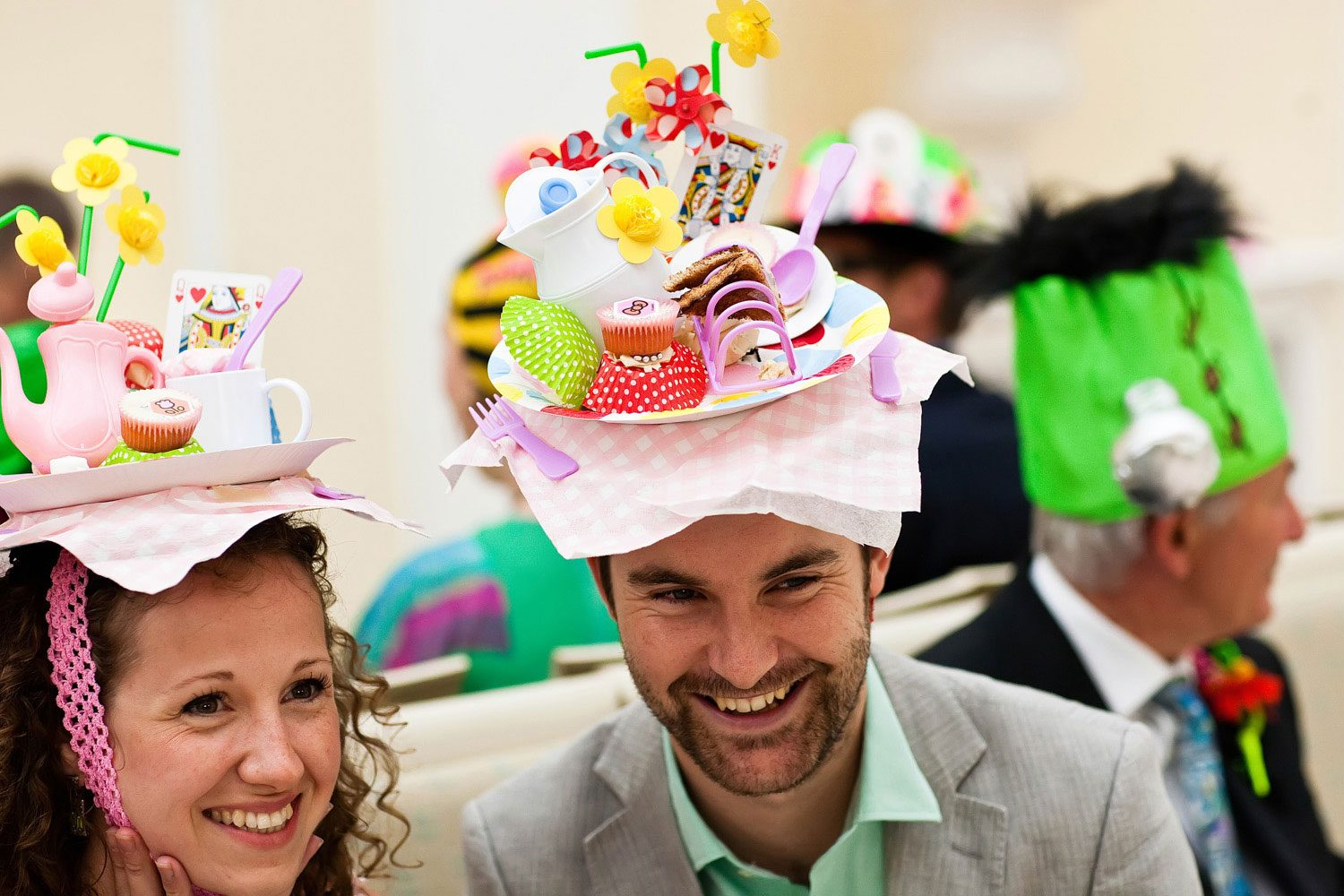 wedding guests in bespoke wedding hats